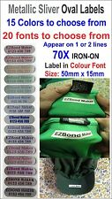 70x Metallic Silver Oval Labels, Colour Font, Iron-On Labels Printed