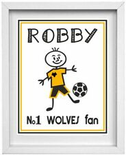 STICK PEOPLE PICTURE | Personalised Name & Football Club  | Wolves | (NP210)