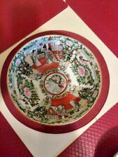 """Chinese Porcelain Centerpiece Decorative Bowl Colorful Scenes gold rimmed 10""""  *"""