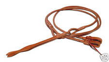 Western harness leather stitched romel reins w/ties USA custom cowboy tack H550