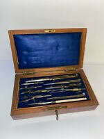 Antique Wooden Drafting Box With Lock, Key, and Instruments