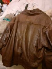 Men's Vintage Slouch Bomber Retro Brown 100% Real Leather Jacket Coat Size XL