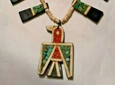 Santo Domingo Thunderbird Necklace Native American 1930 Depression Materials VGC