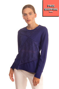 LIU JO Top Size S Floral Lace Inserts Pleated Hem Trim Long Sleeve Round Neck