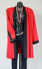 Collarless Swing Coat - Red /Black - 1980s Vintage  - Label 46 / UK 18