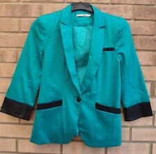 EVA & LOLAC GREEN FAUX LEATHER TRIM ELEGANT PARTY BLAZER COAT JACKET M 12
