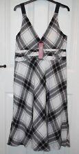 BNWT £65 Monsoon Roberta Black & White Check Sleeveless Linen Dress - 14