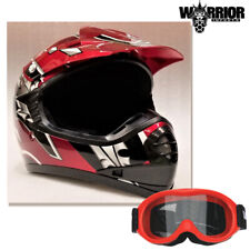 Youth Motocross Helmet Red & Goggles, Kids XS S M L XL Aust Std, Dirt bike, Quad
