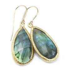 Labradorite Earrings Blue Long Faceted AAA Bezel 14k Gold Filled Teardrops
