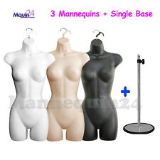3 Mannequin Female Torsos Set White Flesh Black Dress Forms w/3 Hangers +1 Stand