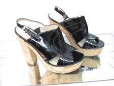 NINE WEST black high wooden block heel sandals Size US 8.5M (AA)  UK 6.5