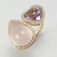 Amethyst, Rose Quartz & Diamond Ring in 18K Rose Gold