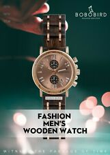 BOBO BIRD Wood & Steel Chronograph Watch Man Women Edelholz & Stahl Uhr SS266