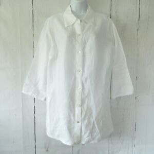 Cut Loose Tunic Top S Small White Linen Lagenlook Art To Wear Button Up Oversize
