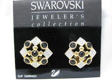 Retired Swarovski Black Clear Pave Jewelers Collection Clip Earrings Swan New