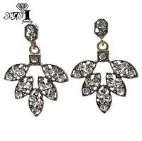 Hot White Glass Crystal Ear Drop Dangle Stud Ancient Gold long Tassels Earrings