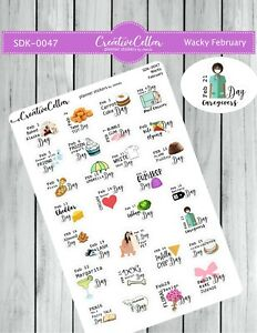 SDK-0047 Planner Stickers Wacky Holidays February Stickers fit any Planner