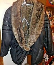 ARTICO GENUINE LEATHER COAT COMPLETELY LINED WITH SHEARLING SIZE P ITALY