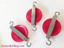 Pulleys - Plastic & Metal, Red (Pack of 3) 50mm each