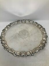Ebenezer Coker & Thomas Hannam London Sterling Footed Salver Tray 1759