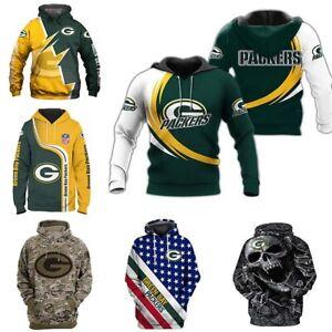 Green Bay Packers Men's Pullover Hoodie Hooded Sweatshirt Long Sleeve Sportswear