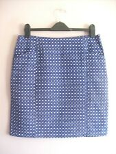 White Stuff Size 12 Blue + White Cotton Lined Knee Length Pencil Skirt