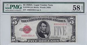 1928 $5 Five Dollar Legal Tender Note PMG 58 Choice About Uncirculated EPQ