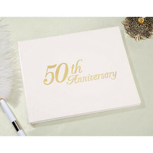 50th Anniversary Guestbook Guest Book Registry by Victoria Lynn - Gold