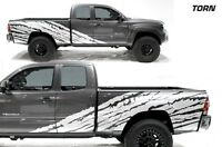 Custom Vinyl Decal Half Side Torn Wrap Kit for Toyota Tacoma 2005-12 Truck WHITE