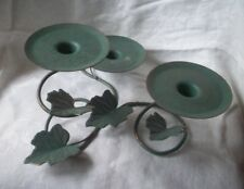 GREEN METAL LEAVES CANDLE HOLDER GREAT CENTERPIECE