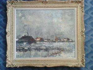 """"""" Paysage Enneigé """" Grande peinture signée J.SIBENS"""