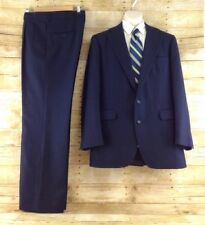 Tailors Row Deansgate Suit 42L Navy Blue Pinstripe 2 Button Flannel Wool 35x31