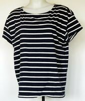 H&M Navy Blue/White Striped Boxy Fit Cap Sleeve T-Shirt M