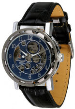 Minoir Uhren - Modell Laval silber / blau - Teilskelettuhr, Herren-Automatikuhr