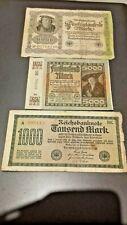1922 - 50,000, 5000, 1000 Reichsbanknote Marks.