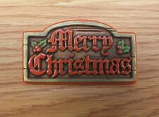 Vintage Hallmark Cards Merry Christmas Faux Wood Sign Collectible Holiday Pin