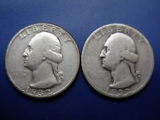 Really nice well matched pair of 1932-D and 1932-S VF Washington quarters.