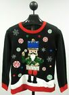Holiday Time Women's Ugly Christmas Sweater w/ Sequin Nutcracker - Size Small