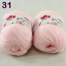 2ballsX 50g Baby Cashmere Silk Wool Children hand knitting Yarn Baby pink 18-31