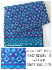 Bold Colourful African Cotton Fabric with Glitter