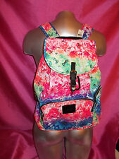 VICTORIAS SECRET PINK RAINBOW FLORAL BACKPACK TRAVEL BOOK GYM BAG NWT SO CUTE!