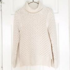 $98 J. Crew Factory Cream XO Chunky Cable Knit Turtleneck Sweater Size S