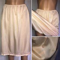"Vintage Silky Semi Sheer Nylon Half Slip Waist 28 to 42"" Sz18 Pale Caramel"