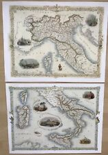 2 x Old Antique vintage colour maps 1800s: North & South ITALY Tallis Reprint