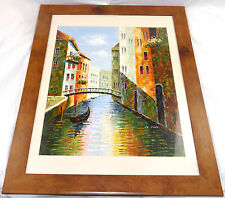 Original Oil Painting Venice Canal Venetian Seascape Framed Under Glass 'M Polo'