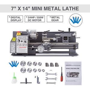 """7x14"""" Mini Metallo Rotante Tornio Lathe Macchina Lavorazione Legno Metal Banco"""