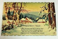 Antique Christmas Cheer Poem Divided Scalloped Edge Postcard JP NY Snowy Cabin