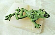 Antique Frog Paperweight, Enameled Iron On Marble, Ca. 1900