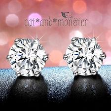 18K White Gold GF 1CT Signity Diamond Classic Round Stud Men Women Earrings Gift