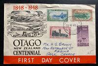 1957 New Zealand First Day Cover FDC To Regina Canada OTAGO Centenary